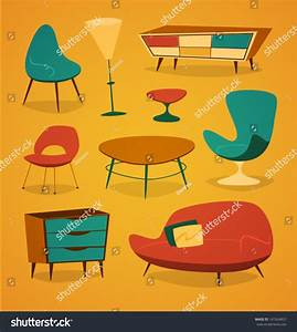 Retro Styled Modern Furniture. Household Series Vector ...