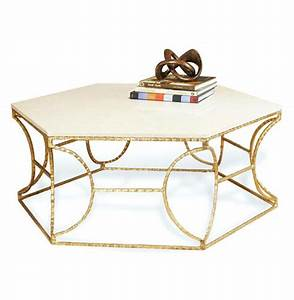 Roja hollywood antique gold leaf cream marble hexagonal for Antique cream coffee table