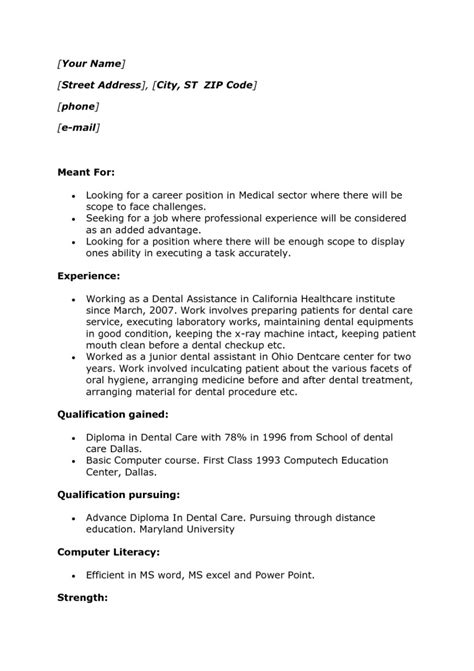 dental assistant resume with no experience work experience