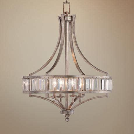 soft silver  light  wide crystal chandelier