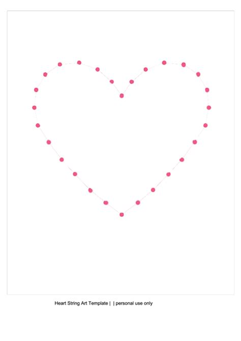 big heart string art template printable