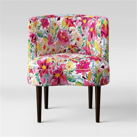 mimi black floral padded wing chair