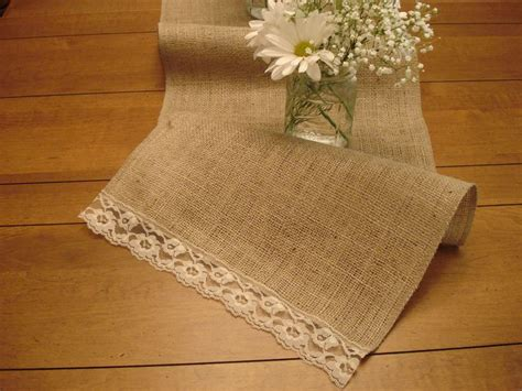 burlap table runner with lace burlap vintage lace table runner wedding ideas pinterest