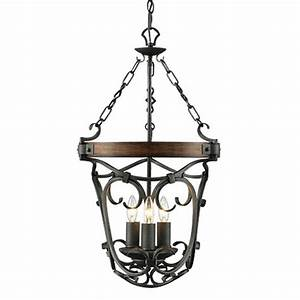 Country iron and wood art pendant lighting in baking
