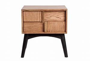 Table De Chevet Bois : table de chevet scandinave 2 tiroirs en bois naturel et noir vical ~ Teatrodelosmanantiales.com Idées de Décoration