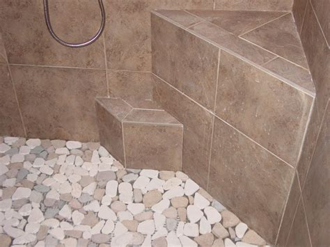 tile shower floor pebble shower floors for tiled showers how to install
