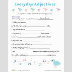 Everyday Adjectives  Worksheet Educationcom