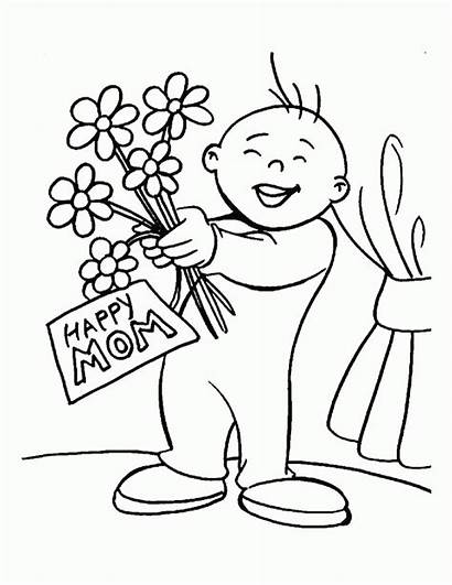 Coloring Pages Mothers Happy Mother Funny Printable