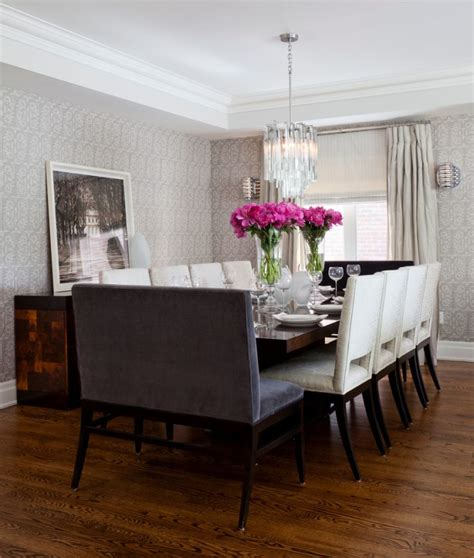 transitional dining room    wooden dining table
