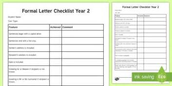 year  formal letter checklist english curriculum