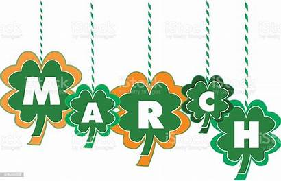 March Month Shamrocks Text Hanging Within Calendar