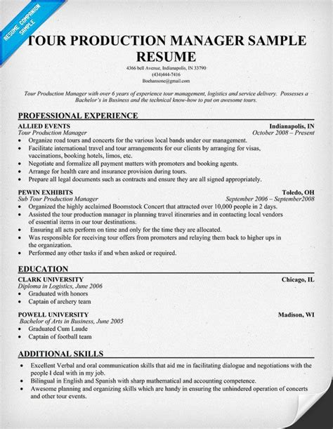 Production Supervisor Resume by Tour Production Manager Resumecompanion Resume