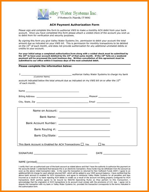 ach payment form template samples  paystubs