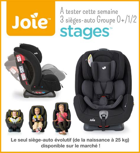 test siège auto stages joie