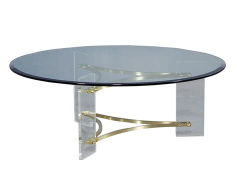 Hollywood Regency Style Round Glass Cocktail Table Carrocel