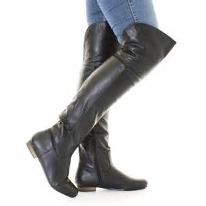 womens flat leather boots australia black leather style flat knee thigh high pirate cuff boots size 5 10 ebay