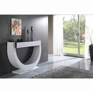 Console Ameublement : console contemporaine corps laqu blanc 2 tiroirs plateau verre laque ~ Melissatoandfro.com Idées de Décoration