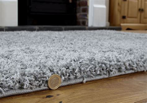 large grey rug large modern 5cm thick non shed soft comfy silver