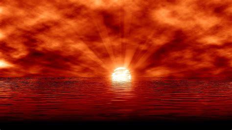1920x1080 Fire Red Sunset & Ocean Desktop Pc And Mac Wallpaper