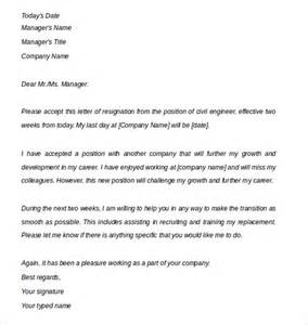 Two 2 Week Notice Resignation Letter