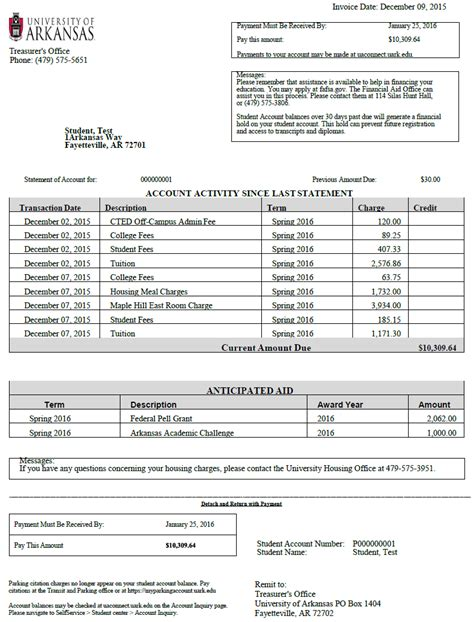 billing statement student accounts cashiers office
