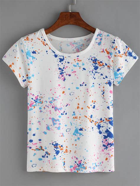 colorful paint splash  shirt emmacloth women fast fashion