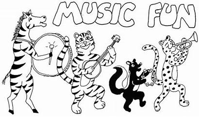Coloring Pages Printable Instruments Animals Playing Colouring