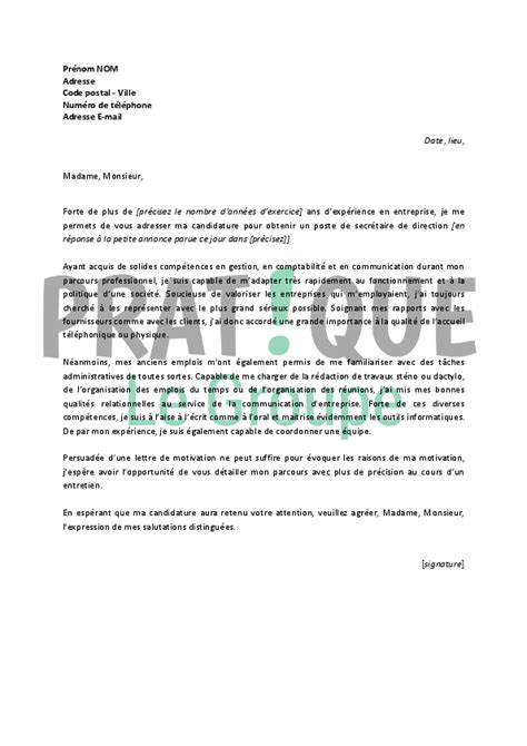 lettre de motivation secretaire de direction lettre de motivation pour un emploi de secr 233 taire de direction confirm 233 e pratique fr