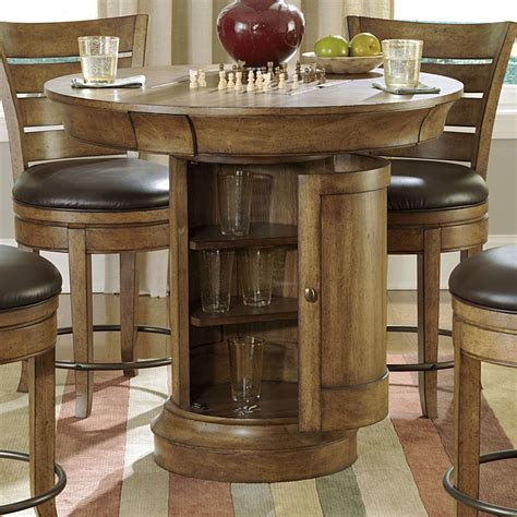 round bar table and chairs hammary hidden treasures 5 piece round pedestal pub table