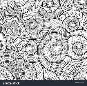 Black White Complex Geometric Pattern Spirals Stock Vector ...