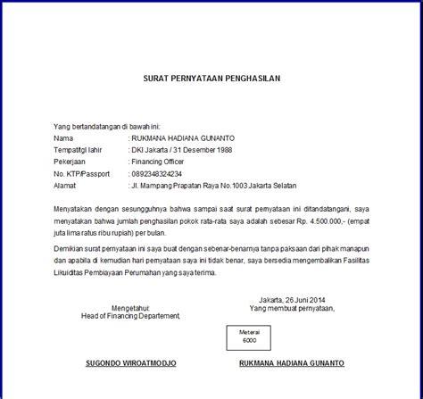 contoh surat pernyataan penghasilan format   kpr
