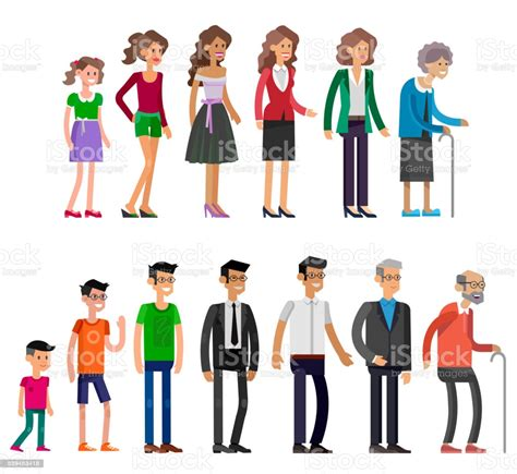 Generations Woman All Age Categories Stock Illustration