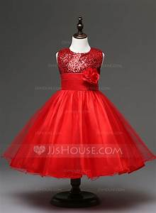 ball gown empire knee length flower girl dress tulle With robe fete 3 ans