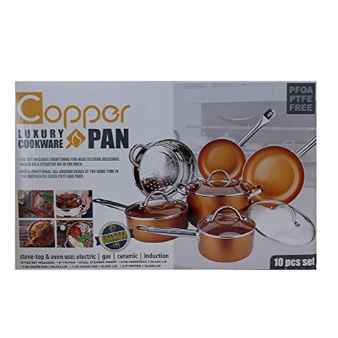 5827 copper luxury cookware copper pan 10 set luxury induction cookware set non