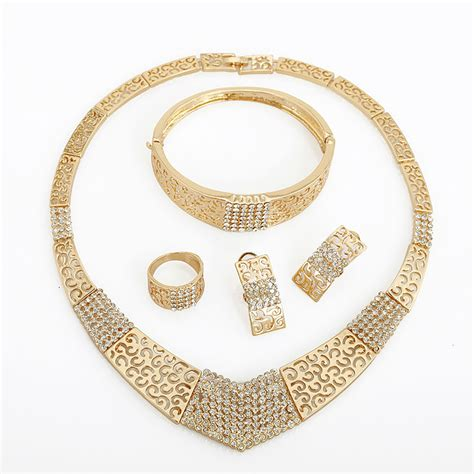 v shape with rhinestone gold plated necklace earring