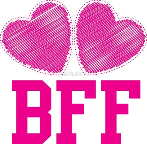 """""""BFF with cute pink hearts Best Friends forever"""" Stickers"""