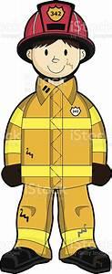 Fireman Firefighter Character Yellow Uniform Stock