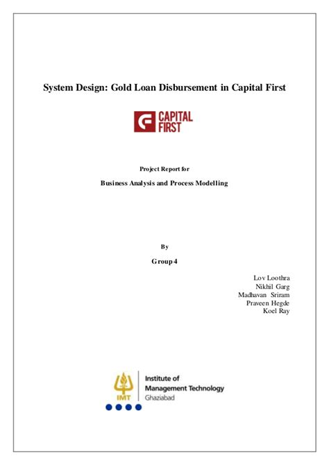 System Design: Gold Loan Disbursement in Capital First