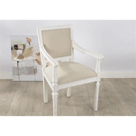 fauteuil chambre fauteuil gustave en bois vieilli blanc et tissu beige