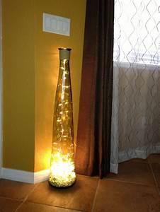 Diy floor lamp vase glass stones string of lights for Glass vase floor lamp