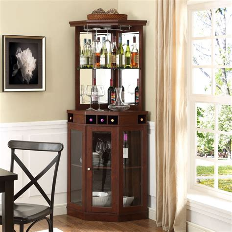Corner Bar Furniture For The Home by Corner Bar Cabinet Wine Bottle Storage Stemware Rack