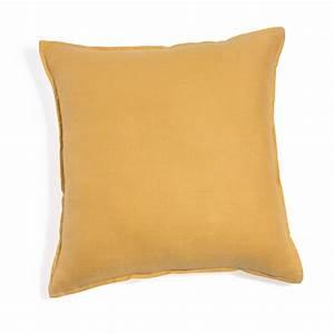 Coussin à Recouvrir 45x45 : coussin en lin lav jaune 45x45 maisons du monde ~ Teatrodelosmanantiales.com Idées de Décoration