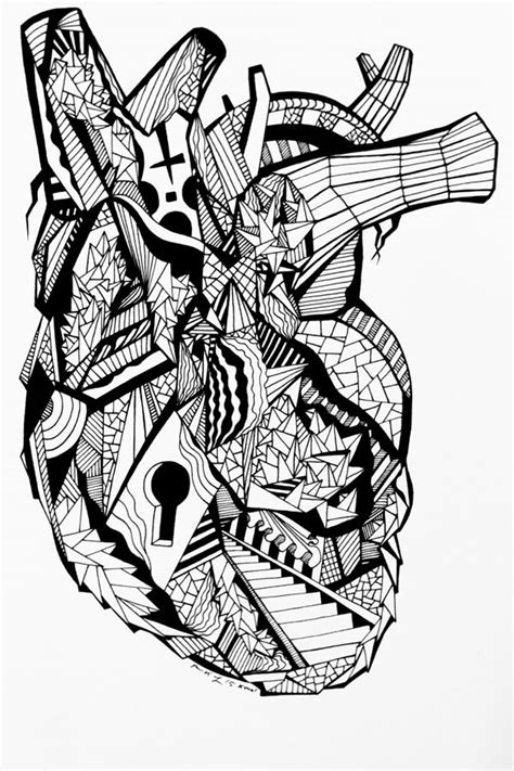 Human Heart Drawing - The Most Beautiful Hearts That Will Inspire You | Ink pen drawings, Human