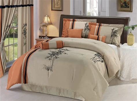 7pcs queen orange bamboo embroidered comforter set ebay