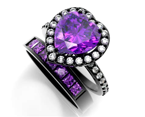Black Gold Heart Amethyst Wedding Ring Set