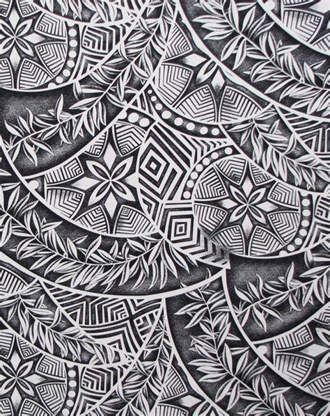 tapa patterns ferns polynesian tattoo fabric check