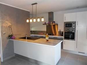 Cuisine Blanche Plan De Travail Gris : cuisine blanc avec plan travail bois bordeaux ~ Melissatoandfro.com Idées de Décoration