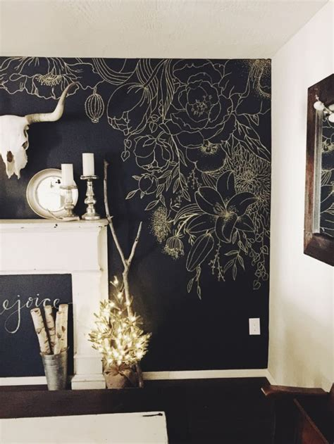 faux wallpaper gold paint marker mural beautiful wall