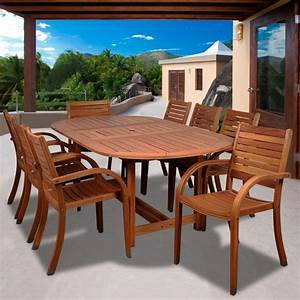 Arizona, 9, Piece, Eucalyptus, Patio, Dining, Set, With, 71, X, 43, Inch, Oval, Extension, Table, And, Stacking