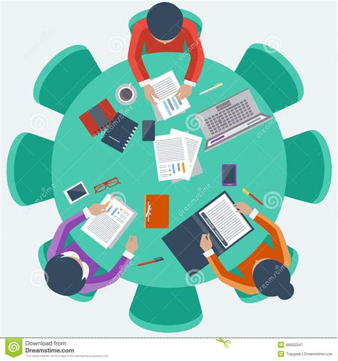 Office Workers On Meeting And Brainstorming Stock Vector   Image: 46550347